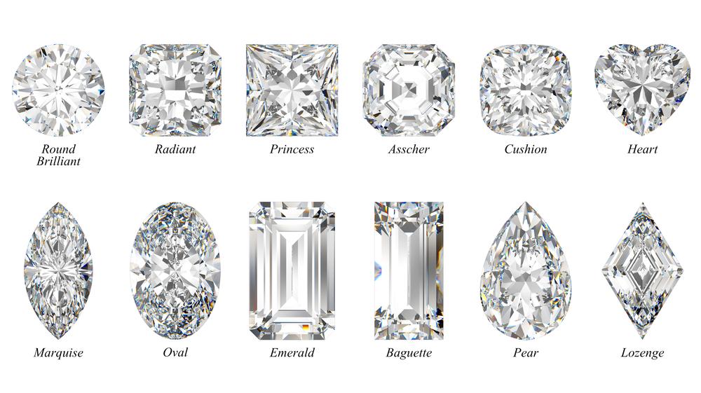 12 Diamanten in verschiedenen Schliffen